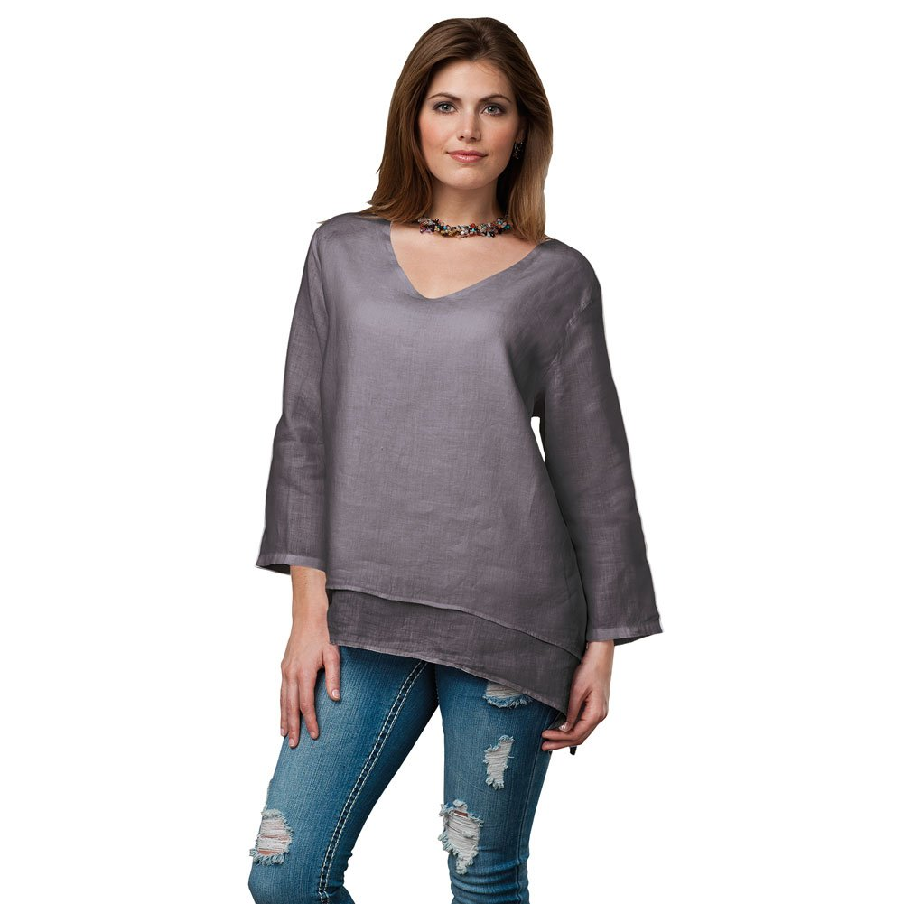 Women's Easy Fit Double Layer Garment Dyed Linen Tunic Top - 2X - Charcoal