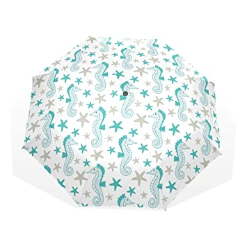 524c0a985bc2 Amazon.com: Grey Starfish And Blue Aea Horse Travel Umbrella ...