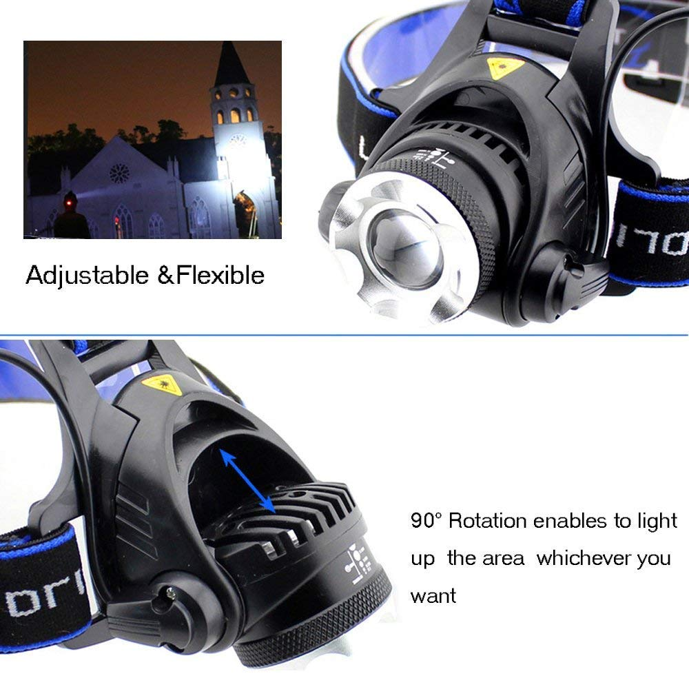Ultra-bright XML T6 3000 Lumen 3 Mode Tactical Headlight with AAA Batteries Waterproof Taclight Headlamp Hands-Free Taclamp (2 Pack) by Ploarnovo (Image #6)