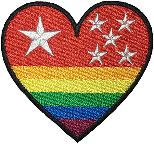 RED HEART RAINBOW STAR size 3 x 2.75 inch Logo Jacket Vest shirt hat blanket backpack T shirt Patches Embroidered Appliques Symbol Badge Cloth Sign Costume Gift