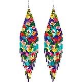 Long Beaded Tassel Earrings - Bohemian Fringe Drop Earrings Statement, Seed Bead Tribal Dangle Earrings, Pendientes De…