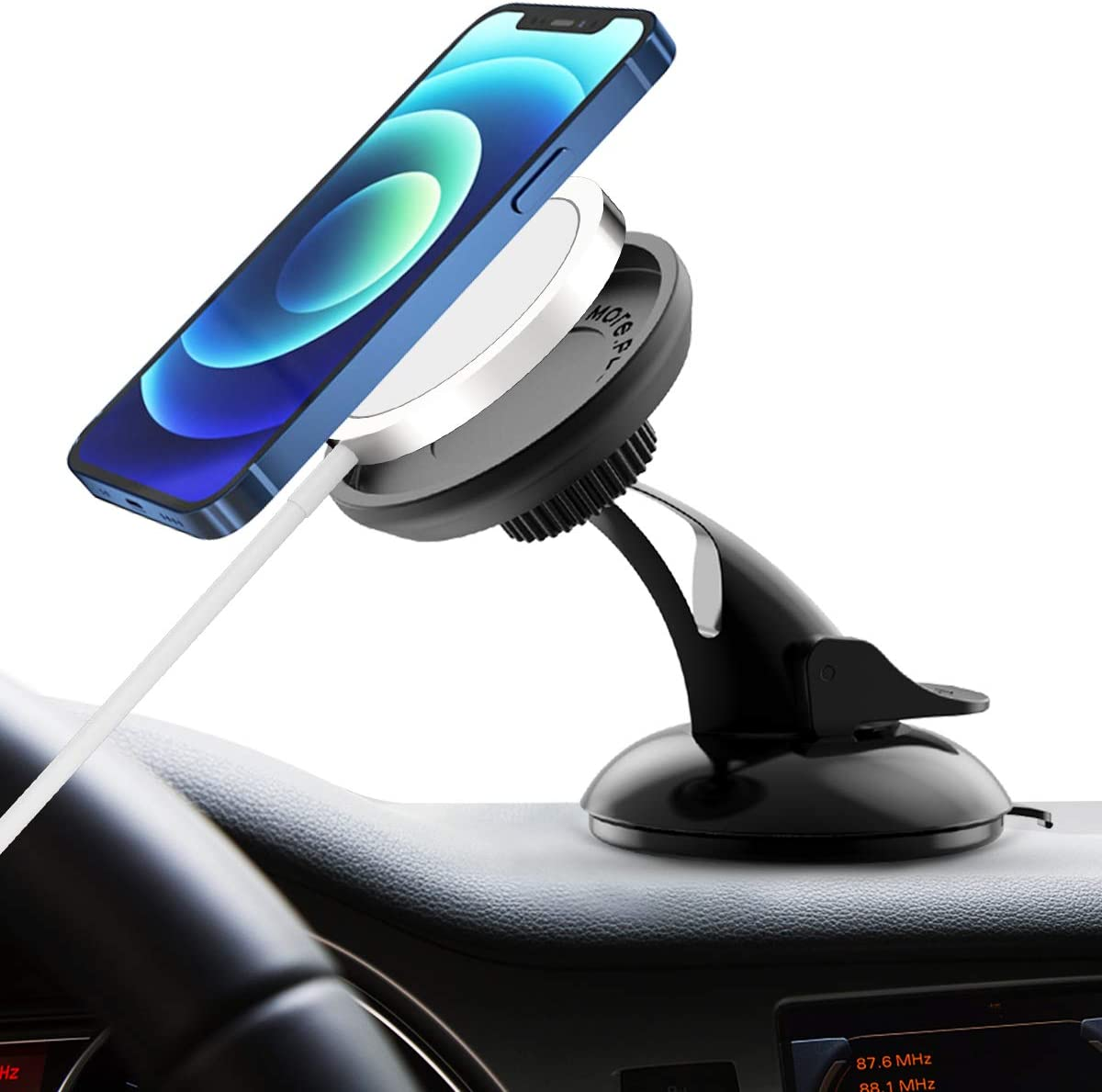 Suction Cup 12 Mini Suction Cup Car Phone Holder for MagSafe Charger iPhone 12 Pro Max 360 Degree Rotation Dashboard Car Phone Mount Compatible with iPhone 12 12 Pro