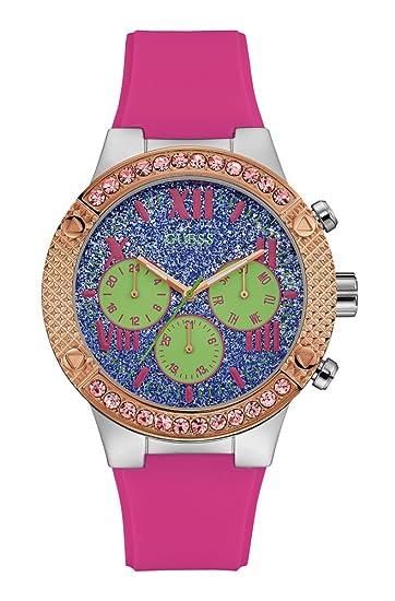 Guess Reloj Multiesfera para Mujer de Cuarzo con Correa en Silicona W0772L4: Amazon.es: Relojes