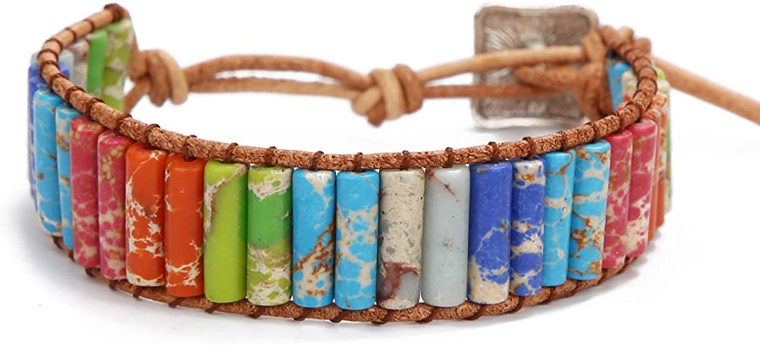 Amazon.com: SCIONE Leather Chakra Bracelet Handmade Natural Imperial Healing Anxiety Jasper Bead Stone Bracelets for Men Women Girls: Jewelry