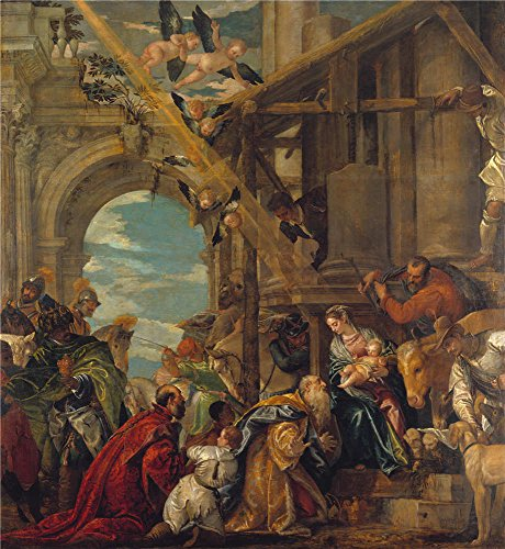 Polyster Canvas ,the Beautiful Art Decorative Canvas Prints Of Oil Painting 'Paolo Veronese The Adoration Of The Kings ', 30 X 33 Inch / 76 X 83 Cm Is Best ()