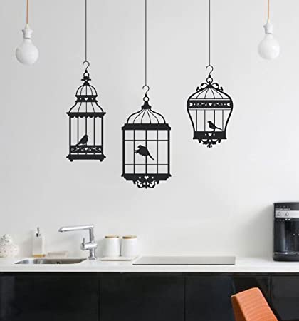 Amazoncom Pretty Birds In 3 Hanging Birdcages Vinyl Wall Decal