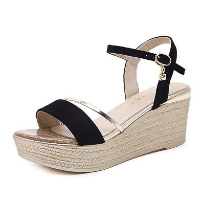 Hauts Inconnu Confortable Sandales Femme Boucle Cheville Bride Sandale Chaussure Talons Ouvert Compensés JFKl1c