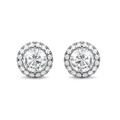 Women Earrings Fashion 925 Sterling Silver Charming Round Zirconia Stud Earrings Jewellery Gift 76Dad