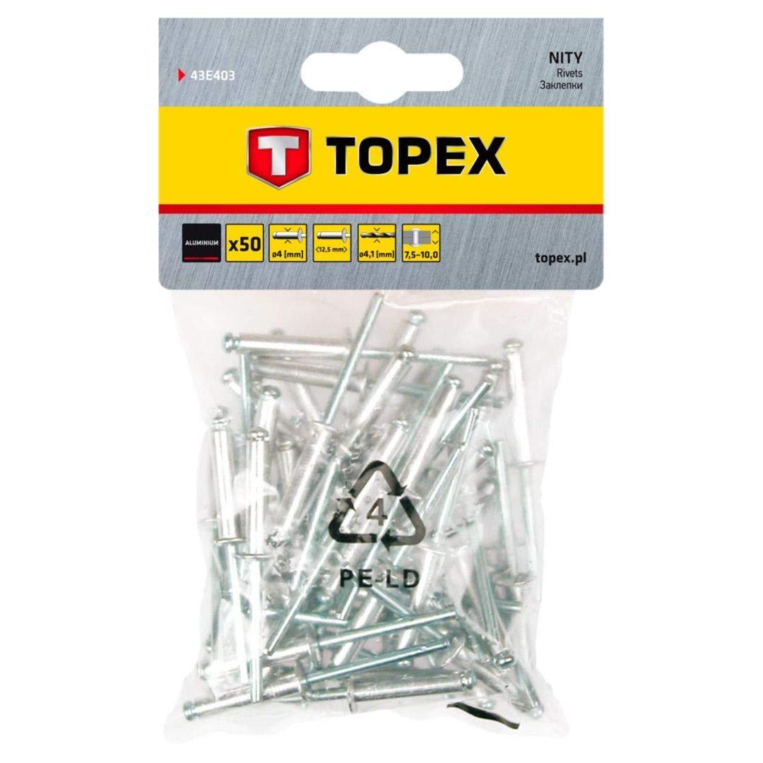 Set Piezas Topex 43E502 Pack de 50 remaches aluminio, 4,8 x 10 mm
