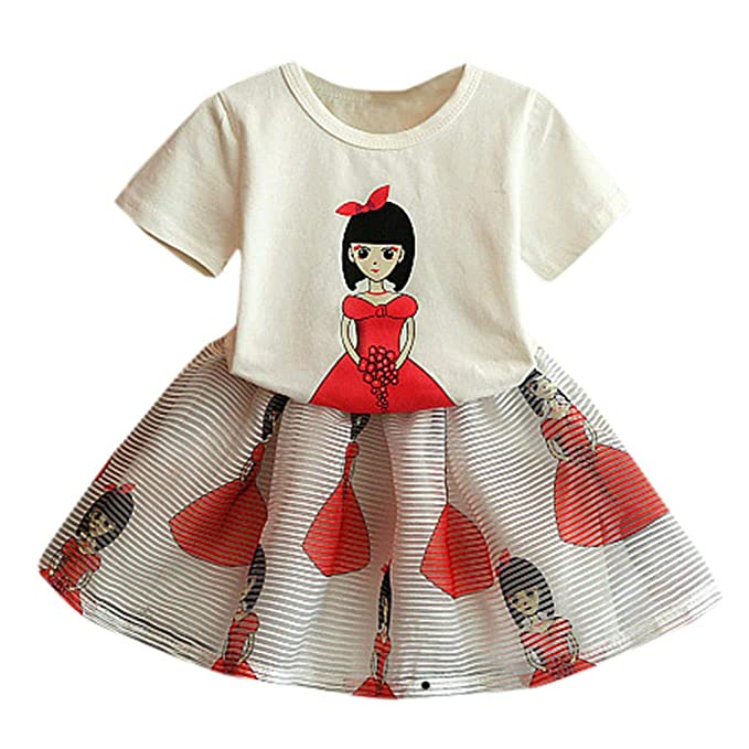 35f34cff 0-6 Years, Newest Baby Girls Kid Short Sleeve Cartoon Print Tops+Skirt  Outfits Set Clothes: Amazon.co.uk: Clothing