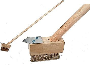 Simple DIY - Escoba con cepillo metálico y mango largo para limpieza del jardín: Amazon.es: Bricolaje y herramientas