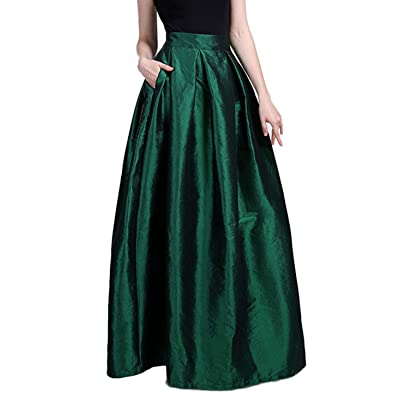 CHARTOU Women's Solid Back-Stretch High Waist A-line Full/Ankle Length Big-Hem Swing Pleated Maxi Skirt at Women's Clothing store