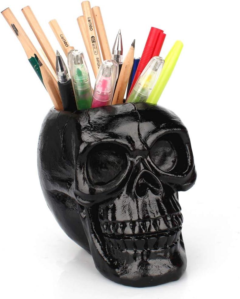 Black Skull Pen & Pencil Holder Skeleton Key Holder Makeup Brush Holder flower pot Home Office Desk Supplies Organizer Accessory