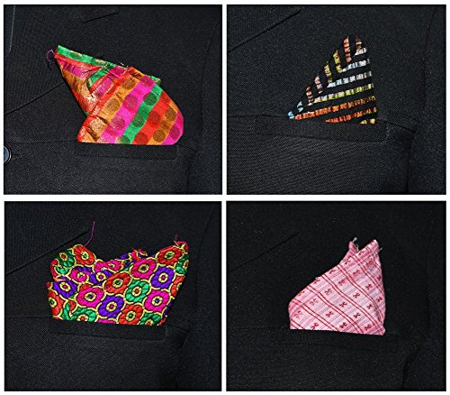 Ana'z Pocket Square Set of 4 Multicolor Handkerchief Men's Fashion Accessory by Ana'z (Image #2)
