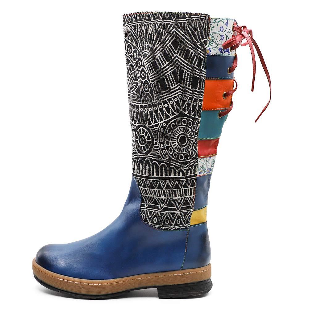 Song Qing Women Leather Knee Boots,Womens Bohemian Splicing Pattern Side Zipper Flat Aztec Boots