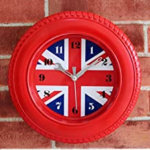 KHSKX Fashion flag tire clock wall clock retro alarm clock-style desktop clock