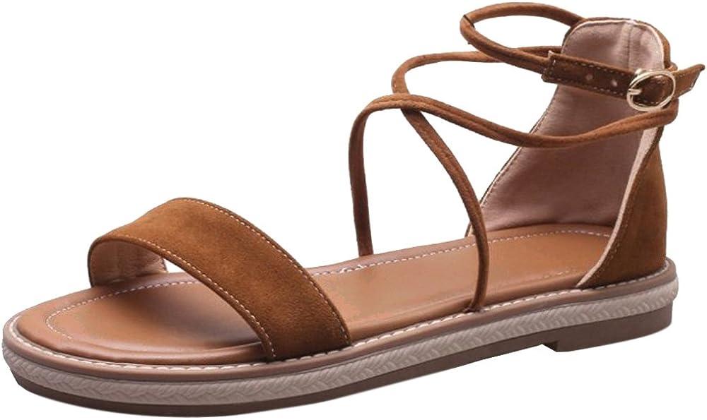 VulusValas Women Open Toe Flats Sandals