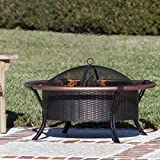 Rail Steel Charcoal Fire Pit Outdoor Patio Fireplace Heater Steel Backyard Wood Propane Bowl Firepit Gas Burning Cover Deck Table
