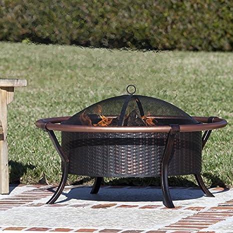 Rail Carbón de acero Fire Pit calentador de Patio exterior chimenea acero patio madera cuenco de propano estufa Gas Burning funda cubierta cuadro: ...