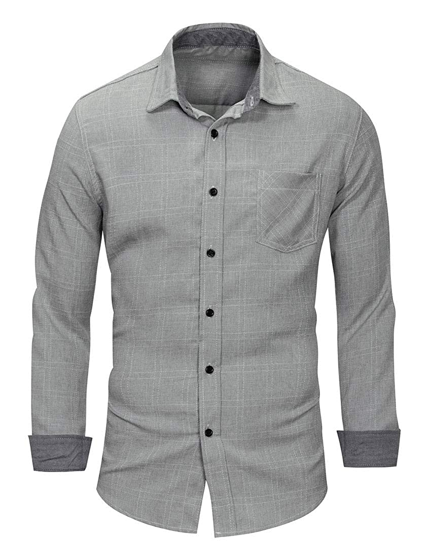 TingW Men Pocket Long Sleeve Casual Slim Fit Cotton Long Sleeve Button Shirt