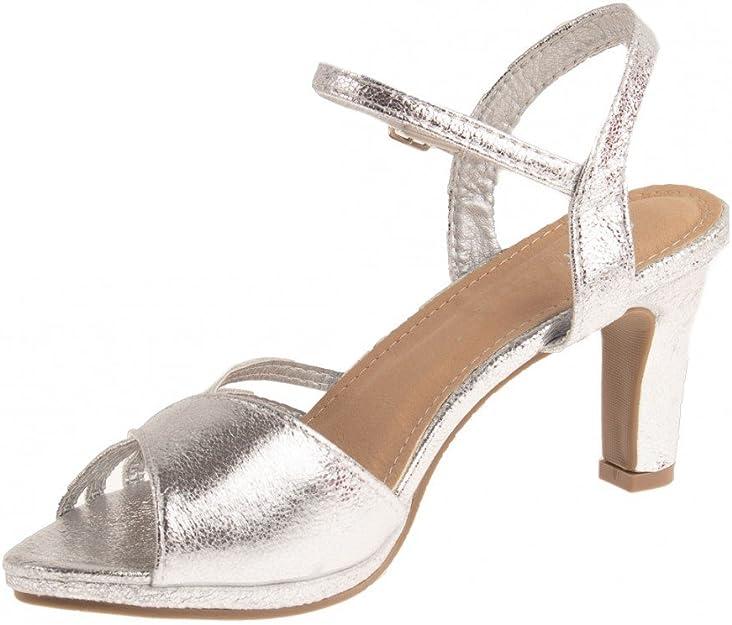 Chaussures Mariage Femme argentées Forme Sandales Brillantes à Petit Talon 7 cm épais & Bout Ouvert
