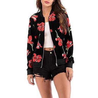 228b16e494f Femme Veste Motard Blouson Court Zippe a Motifs des Fleurs Bombers Jacket  Printemps Autonme Femmes Manches