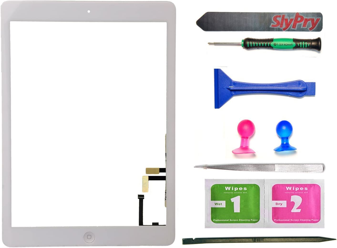 Black Touch Digitizer Screen+Home Button Flex+Adhesive Assembly for iPad Air 1