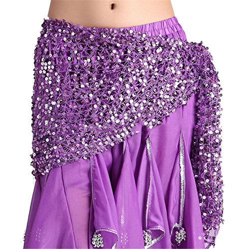 [Womens Belly Dance Hip Scarf Skirt Sequins Belly Dance Costume] (Dance Fans Costumes Accessories)