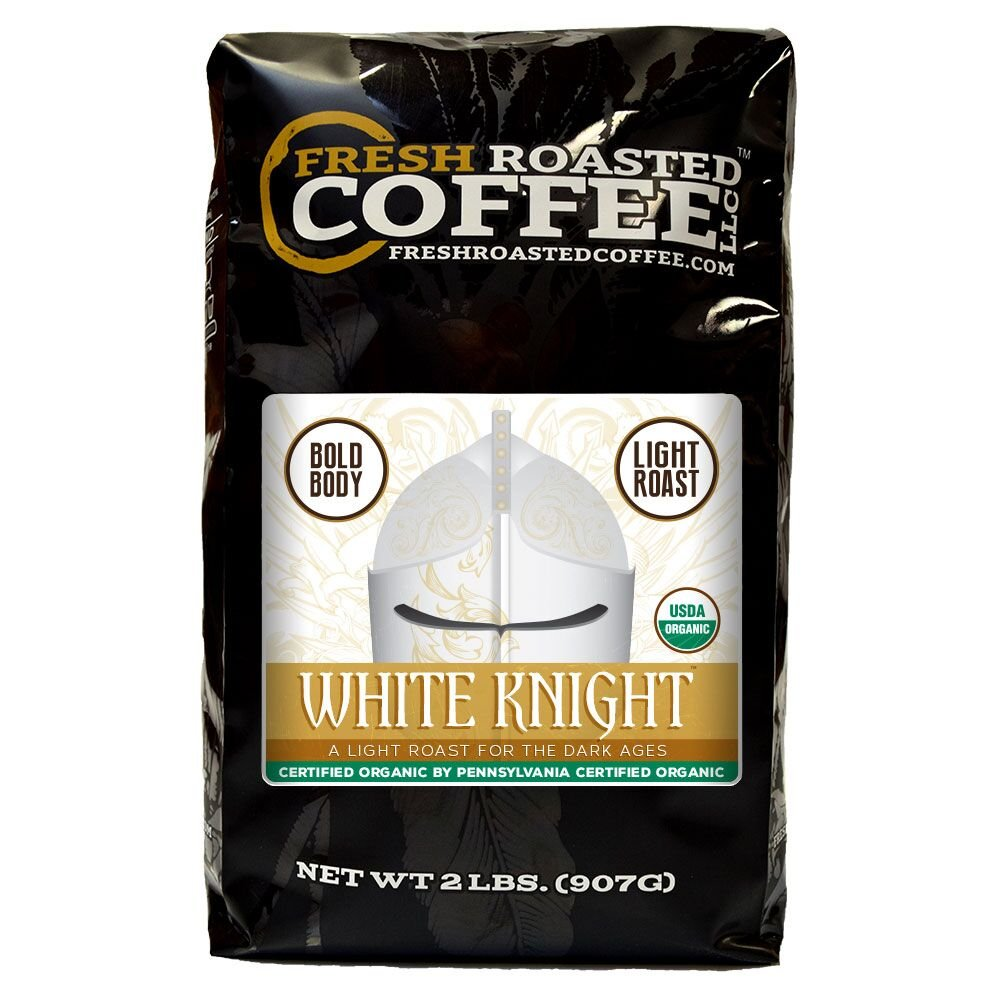 Organic White Knight Light Roast Coffee, Artisan Blend, Fair Trade, Whole Bean Bag, Fresh Roasted Coffee LLC. (2 LB.)