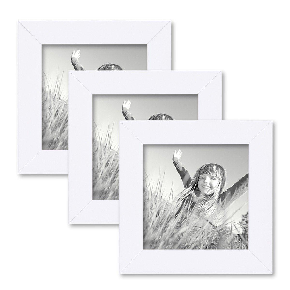 Amazon.de: PHOTOLINI 3er Set Bilderrahmen 10x10 cm Weiss Modern aus ...