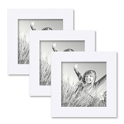 Photolini Juego de 3 marcos 10x10 cm blancos, modernos, madera ...