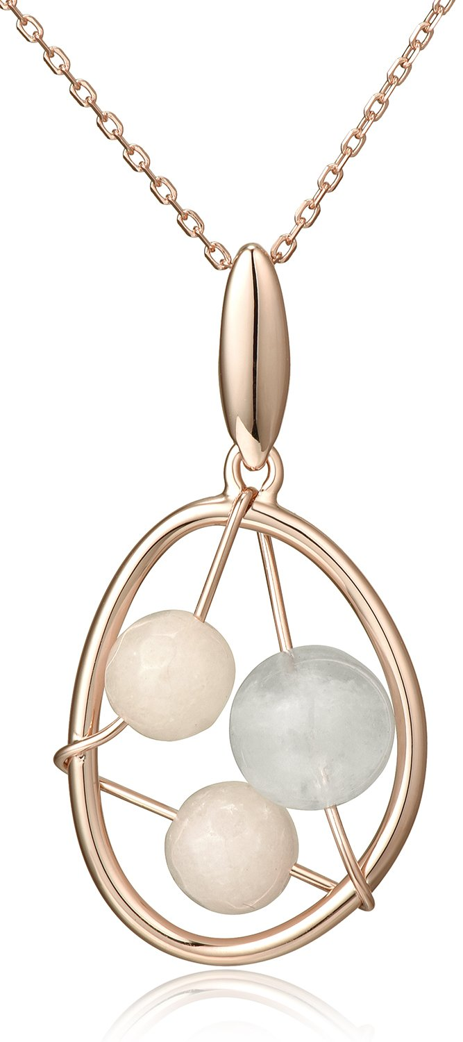 Lanfeny Rose Golden 925 Sterling Silver Hollow Pendant Necklace with Quartz and Moonstone Wire Winding, 16.5''+1.2'' Extender