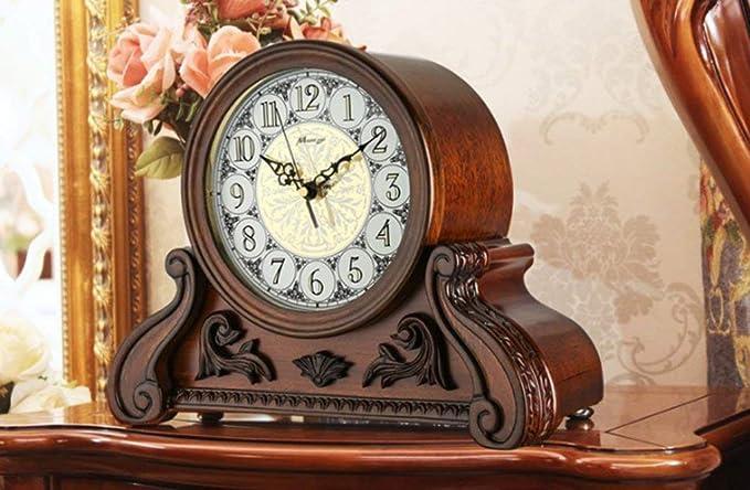 Amazon.com : LQUIDE Family Fireplace Clocks Table Clock Silent Tablecloth Clocks for Salt ó n Bedroom Solid Wood Quartz Clock Vintage Ornaments Suitable for ...