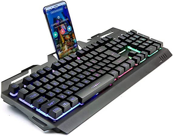 Teclado de juego profesional ergonómico diseño de arco iris Backlight MUTE cable USB sentido mecánico colgante teclado compatible ratón óptico kit portátil Smart TV juego Oficina Internet,Black: Amazon.es: Hogar