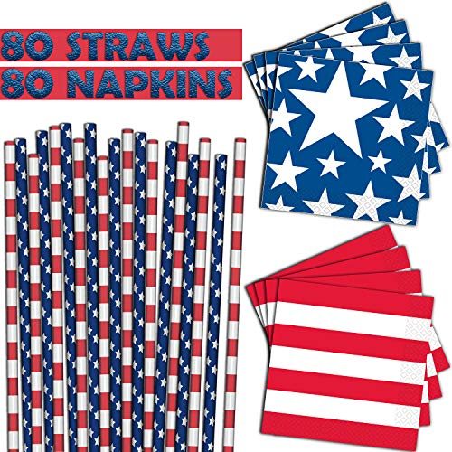 Stars and Stripes - 80 Paper Straws +