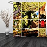 HAIXIA Shower Curtain Vineyard Vineyard Landscapes Purple Grapes French Bottle Glass Rustic Cellar Couples Green Red Brown