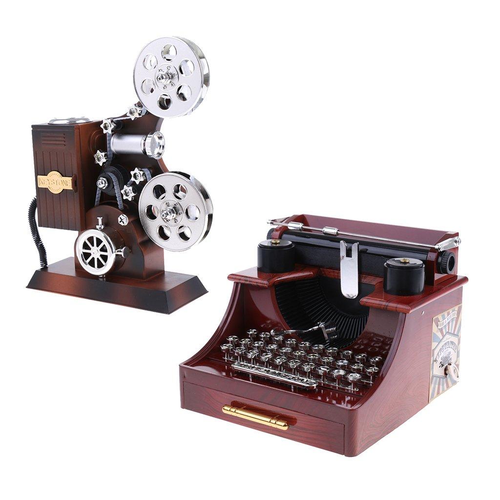 F Fityle Vintage Boîte à Musique Artistique de Machine à Ecrire et Film Projecteur Belle Mélodie