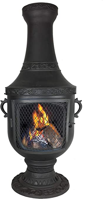 Venetian Grill Wood Burning Chiminea Charcoal Color Garden Outdoor