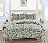 Miranda Collection 3-Piece Luxury Quilt Set with Shams. Soft All-Season Microfiber Reversible Bedspread and Coverlet with Floral Pattern. By Home Fashion Designs Brand. (Full/Queen, Green)