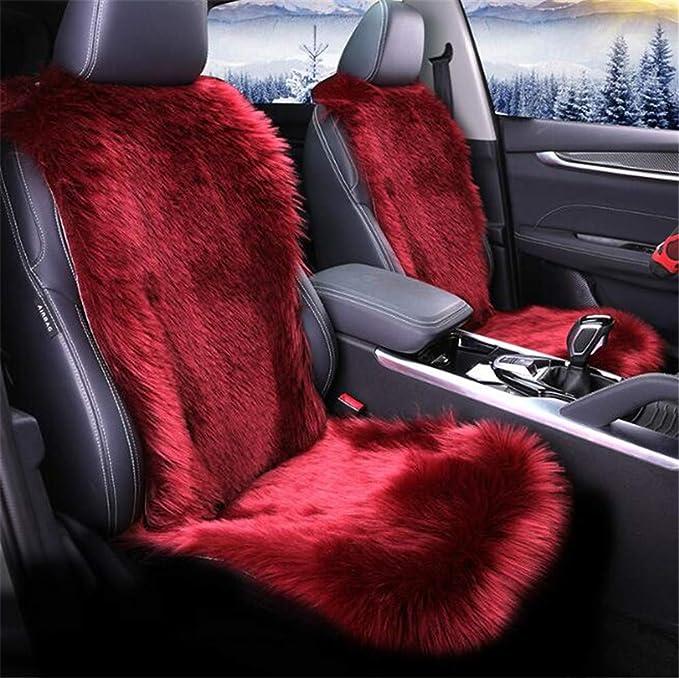 Hava Kolari Nachahmung Lammfellbezug Autositzkissen Auto Schaffell Sitzbezug Abdeckung Nachahmung Lammfell Vordersitzbezug Universal Rot Auto