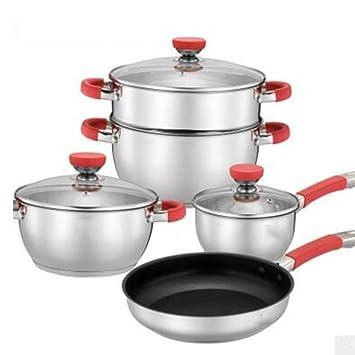 MMYUNX General Familia Juego de ollas Sartenes ollas Silicona Sartenes Set de presupuesto Artículo Hot Acero Inoxidable Cocina Dispositivos: Amazon.es: ...