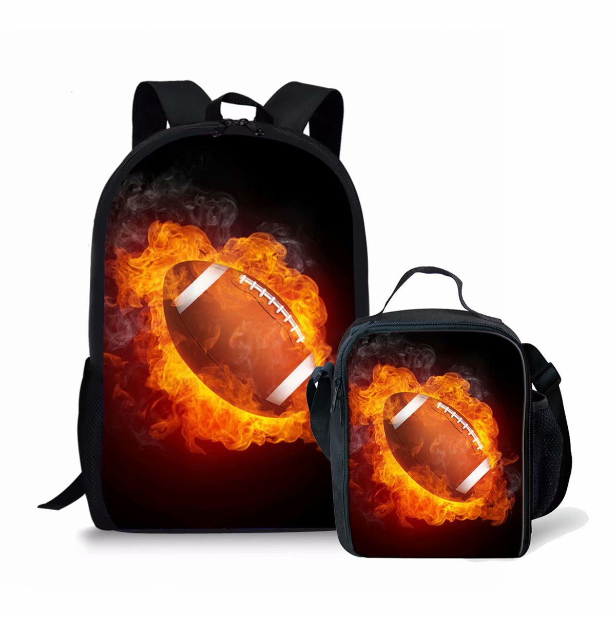 Kids Fire Football Backpack Book Bag Schoolbag + Lunch Bag for Boys Girls Primary School