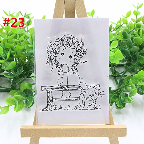 (Best Quality - Stamps - New Lovely Girl Transparent Clear Rubber Stamp Silicone Scrapbooking DIY Photo Album Decor Paper Cards Craft Handmade Gifts - by BLUESKYUP - 1)