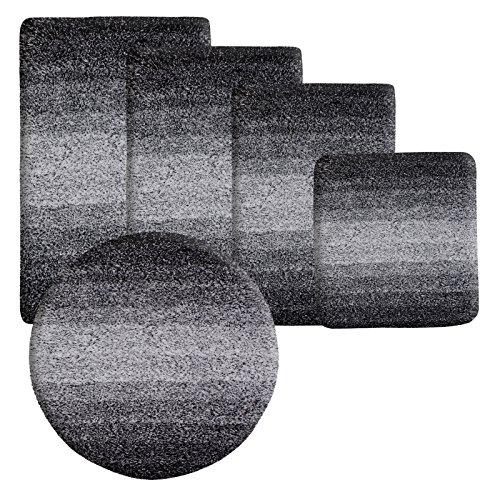 Badematte Ombre schwarz | Hochflor | zum Set kombinierbar | 5 verschiedene Größen (50x60cm)