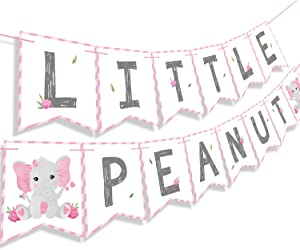 Faisichocalato Pink Little Peanut Banner Pink Elephant Baby Shower Baby Girl Welcome Baby Banner Elephant Party Supplies Decorations