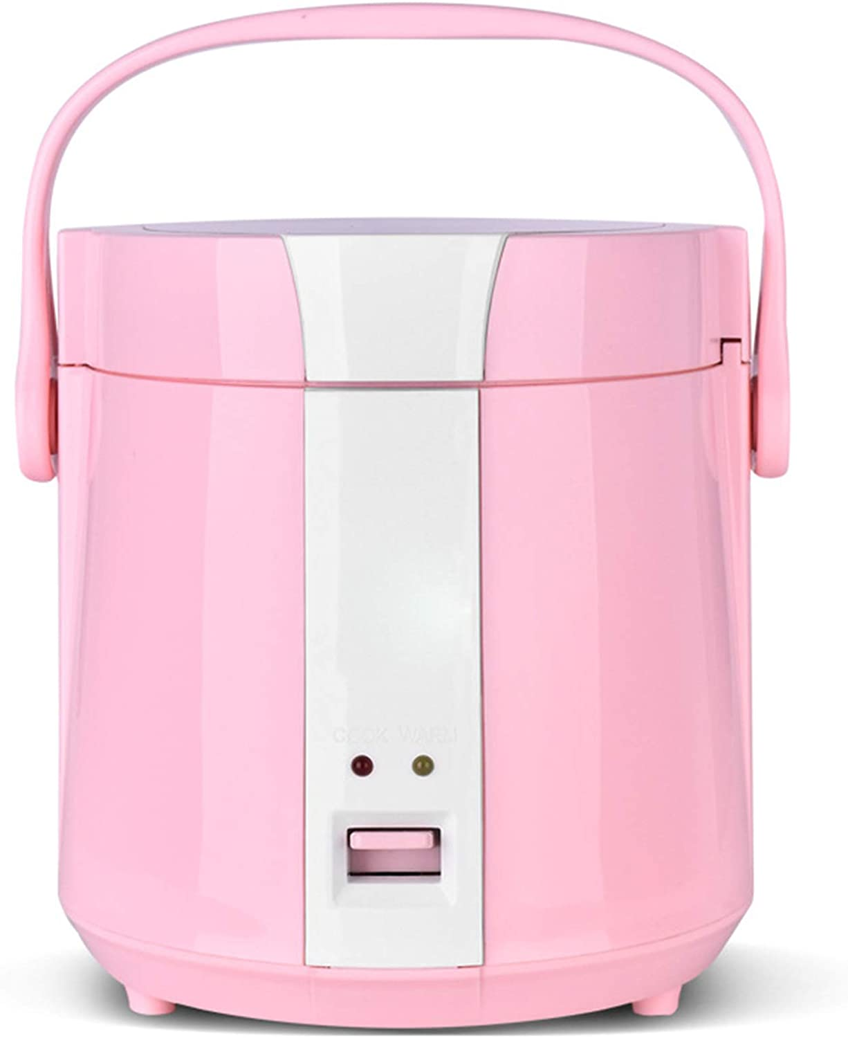 ZYQDRZ Rice Cooker, Mini Portable, Household Pots, Double Spray, Non-Stick Pan Liner, and Portable Handle, 1.2L,Pink