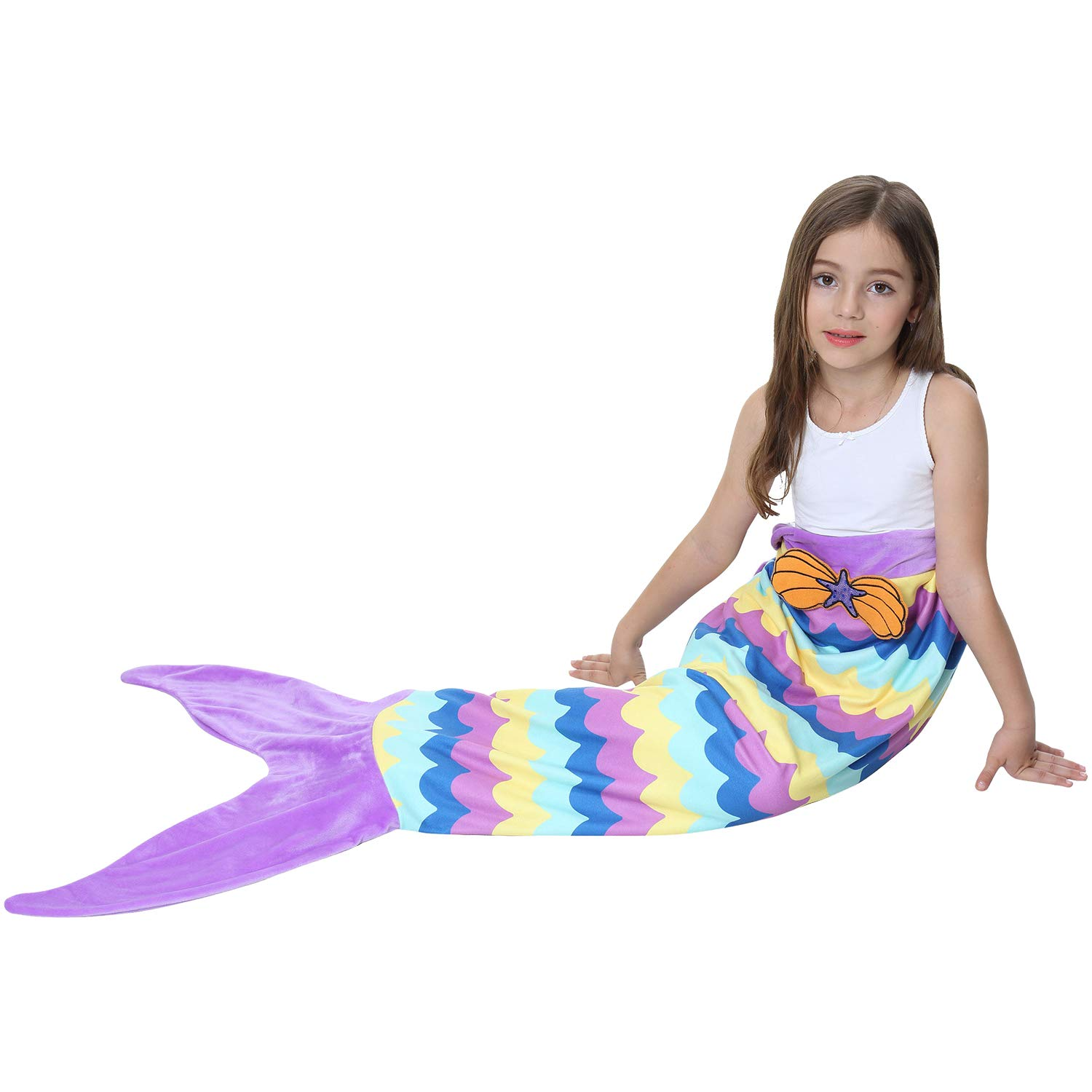 Ereon Mermaid Tail Blanket for Girls Kids Soft Plush Flannel Sleeping Bag to Keep Warm All Seasons Blanket for Girl Christmas Birthday Gift Apply to Bedroom Sofa Beach Outdoor(Purple) by Ereon (Image #5)