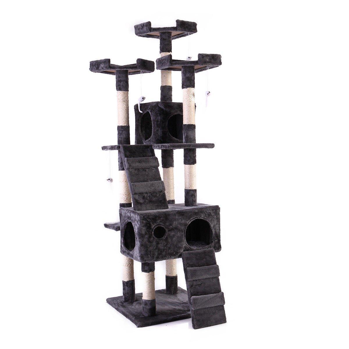 Tobbi 67'' Cat Tree Tower Condo Play House Pet Scratch Post Kitten Furniture Grey
