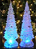 Banberry Designs Lighted Christmas Trees - Set of 2 Color Changing LED Acrylic Xmas Trees - Each Tree has Colorful Ornaments - Holiday Decorations - Christmas Decorations