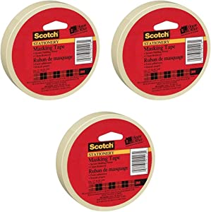 Scotch(R) Home and Office Masking Tape, 3/4-Inch x 54.6 YardsTan (3436) Pack of 3